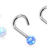 (Pack of 3) 20G Nose Ring Screw Opal in Pink, blue, white, 316L Surgical Steel