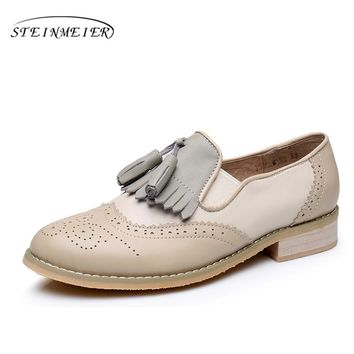 Women Genuine leather flats tassel oxford shoes vintage round toe handmade flats beige oxfords shoes for women fur