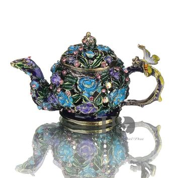 H&D 3.7'' Retro Mini Teapot Trinket Box Wedding Ring Holder Figurine Collectible Table Dish Decorated Unique Gift For Home Decor