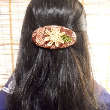 Exotic Chrysanthemum kanzashi in cream colored on French barrette wrapped in brown cream batik silk, flower hair clip, upcycled, OOAK