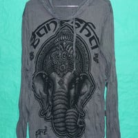 Hoodie Om Elephant head Indianstyle tee Dark grey Hood  Long sleeve Wrinkled Tshirt Unisex,women,men tees Magic Art Shirt Style  Size M/L XL