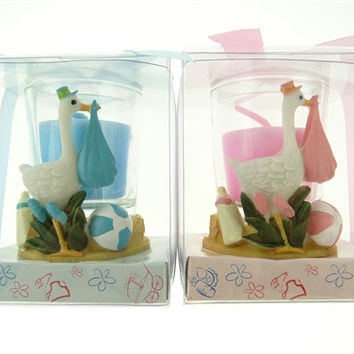 Baby Shower Party Favor - Boy or Girl Candle Votive Stork, Light Blue