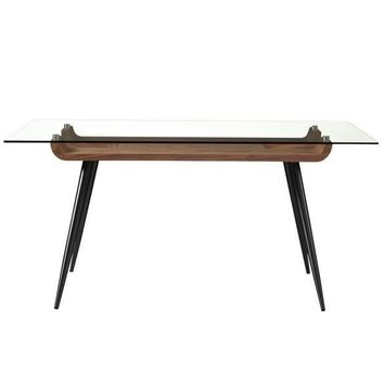"""Esmoriz 63"""" Dining Table in American Walnut with Clear Tempered Glass Top and Matte Black Powder Coated Steel Legs"""