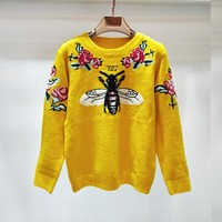 GUCCI Bee Flower Women Fashion Top Sweater Pullover