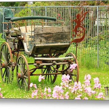 Vintage Horse Carriage In A Flower Bed Metal Print