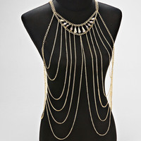 Rhnestone Harness Gold Body Chain Jewelry