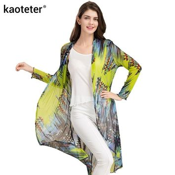 100% Pure Silk Yarn Women's Plus Shawl Blouses Female Solid Thin Loose Women Air Conditioning Print Shirt Long Sleeve Woman
