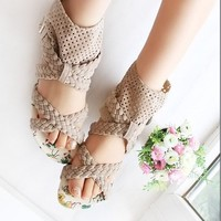 Wholesale Cross Net Sandals Apricot