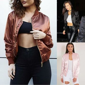 Vintage Women Satin Bomber Jacket Coat Flight Army Biker Retro Zip Up outwear