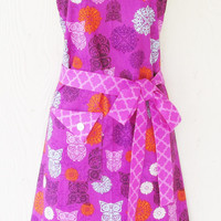 Orchid Owl Apron, Colorful Owls, Damask, Quatrefoil, Women's Full Apron, Vintage Style Apron, Retro Inspired, KitschNStyle