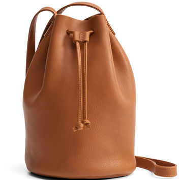 Camel Drawstring Leather Purse