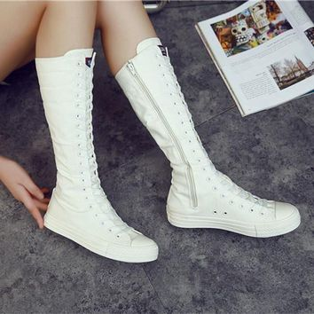 New Women's Canvas Sneakers White / Black Lace-Up Shoes Knee-High Boots Lace-up Punk EMO Canvas Sneakers Ladies Knee High Fashio