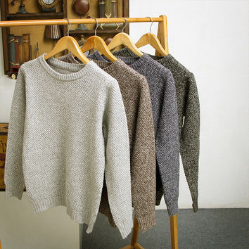 Mens Comfortable Knitted Look Sweater