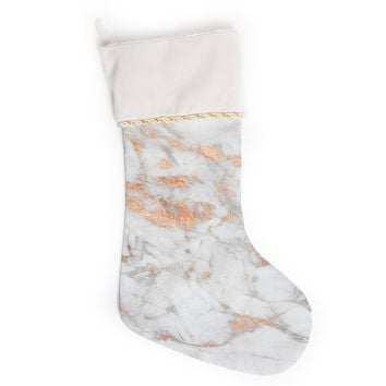 "KESS Original ""Rose Gold Flake"" White Pink Christmas Stocking"