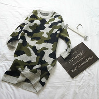 Camouflage Sleeve Knitted Shirt