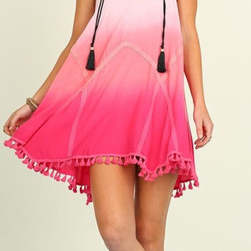 Pink Night of Wander Sleevless Ombre Dress/tunic with tassel trim