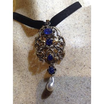 Antique Old Rose Cut Real  Diamond Gothic Genuine Blue Sapphire 14k Yellow Gold Pendant