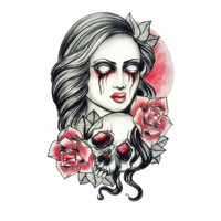 Pink Sexy Dangerous Skull And Scary Woman Tattoo Waterproof Temporary Tattoos Stickers Female Beauty Transferable Tattoo Sleeve