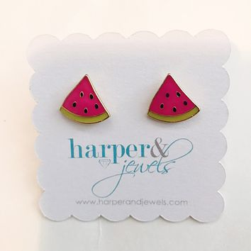 Slice of Watermelon Stud Earrings