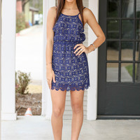 Chasing Daisies Dress - Navy