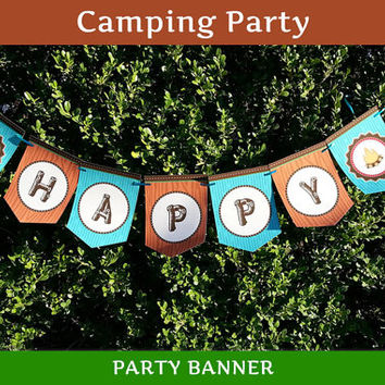 Camping Party Banner / Camping Birthday Banner