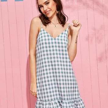 Gingham Ruffle Hem Slip Dress