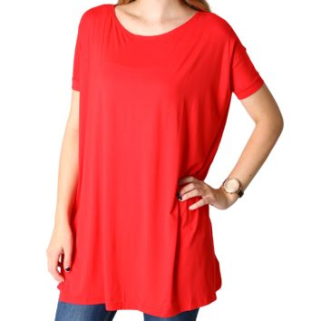 Red Piko Tunic Short Sleeve Top