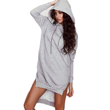 Women Winter Autumn Dress Vintage Long Hoodie Dress Sexy Long Sleeve Pockets Casual Loose Sweatshirts Vestidos Cotton Dresses