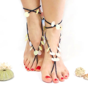 Barefoot sandals, Crochet, Barefoot Sandles, Black, Barefoot Sandal, Black Cream, Nude shoes, Foot jewelry, Wedding, Toe ring, Foot jewelry