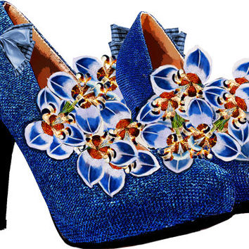blue orchid high heel shoe clip art printable art digital graphics download images shoe png clipart orchid flowers art high heels art