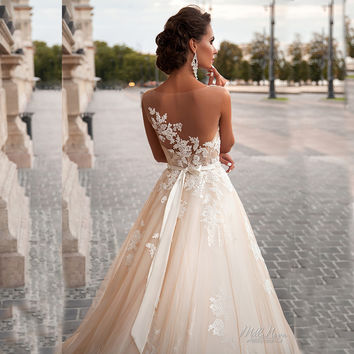 2016 New Design Lace Wedding Dress Transparent Sexy low back Wedding dress