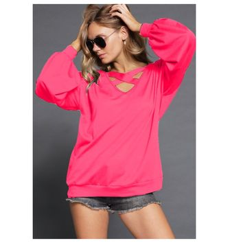 Adorable Me, Caged Cut Out V Neck Vibrant Pink Top