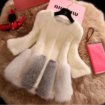 Women's self-cultivation splicing imitation mink coat fox plush
