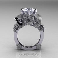 Love and Sorrow 14K White Gold 3.0 Ct White Sapphire Skull and Rose Solitaire Engagement Ring R713-14KWGSWS