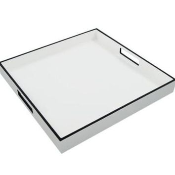 Square White With Black Trim Lacquer Tray