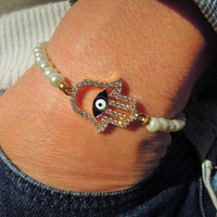 Hamsa evil eye bracelet, Tennis Bracelet , Fresh Water Pearl Bracelet , Protection Bracelet, Good Luck bracelet , hamsa jewelry, hamsa hand