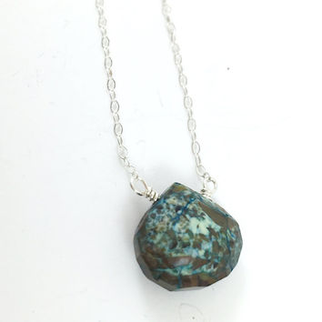 Chrysocolla Necklace,Teardrop, Delicate, Dainty, Raw, Silver Necklace, Green Gemstone, Bridesmaids, Stone, Healing, Boho, Gem Necklace