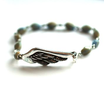 Wing Bracelet // Delicate Gemstone Bead Bracelet // Motivational Gift