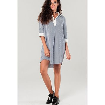 Shirtdress With Navy Stripes