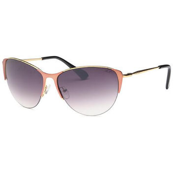 Pink Aviator Wrap Around Semi-Frame Sunglasses