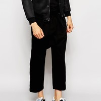ASOS Drop Crotch Trousers With Gathered Waist Detail at asos.com