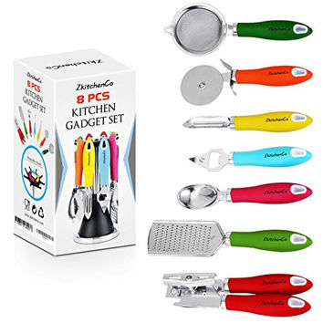 8-Piece Kitchen Gadgets Utensils Cooking Tools, Stainless Steel Nylon Multi-Colored Home Set - Can Opener, Pizza Cutter, Bottle Opener, Ice Cream Scoop, Peeler, Grater & Strainer with Rotatable Stand