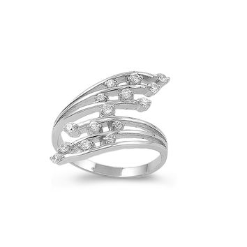 925 Sterling Silver CZ Exotic Flower Ring 29MM