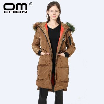 Winter Jacket Women Luxury Colorful Fur Hooded Down Cotton Padded Coat Casual Warm Parka