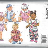 Butterick 6675 Classics Pattern for Infants' Jumpsuit, Hats, & Romper with Applique Variations, From 1993, Size NB, Small, Medium