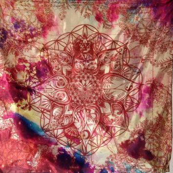 LOTUS, Light Of Truth Universal Soul Tapestry. Art By Melanie Bodnar. Original Sacred Geometry Tapestries and Bandanas by Enlighten