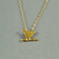 Cute Sparrow Necklace, 24K Gold Vermeil, 14K Gold Filled Chain, Delicate, Pretty, Lovely Jewelry