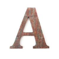 Decorative Wall Letter A hand painted copper faux finish mesh textured industrial letter made to order alphabet letters and symbols 10 inch