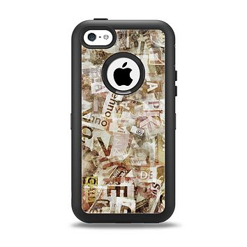 The Vintage Torn Newspaper Collage Apple iPhone 5c Otterbox Defender Case Skin Set