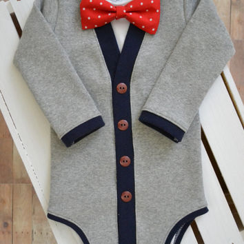 SALE Preppy Baby Cardigan Onesuit: Gray and Navy Blue with Interchangeable Tie Shirt and Bow Tie